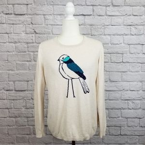 Old Navy cream blue black bird crew neck sweater